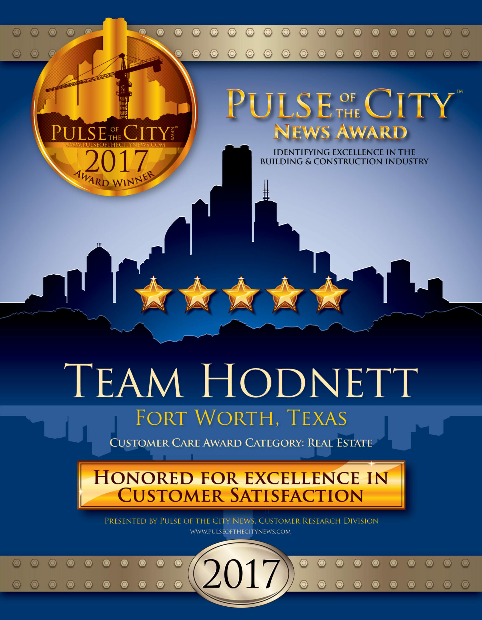 Pulse of the City News 2017 Award Winner, Team Hodnett